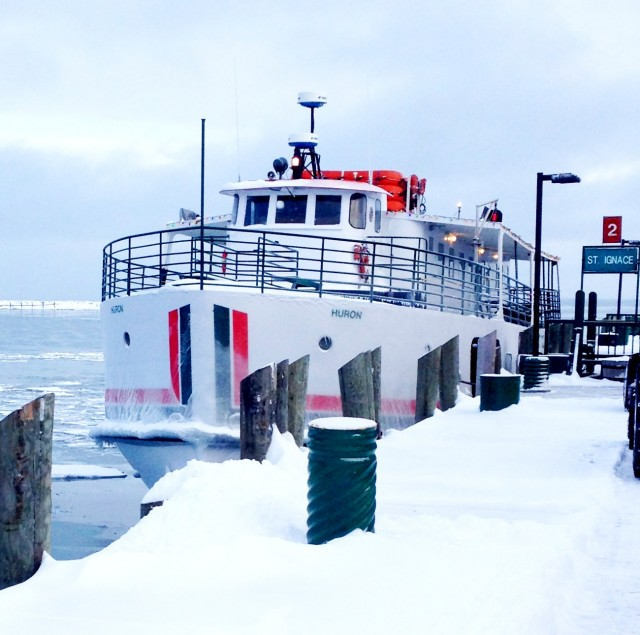 The Arnold Line ferry Huron pulls into its Mackinac Island dock.