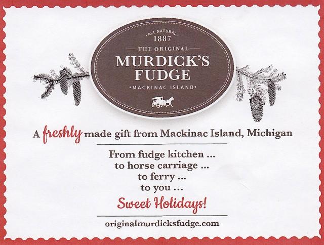 Murdick's Fudge Insert Card