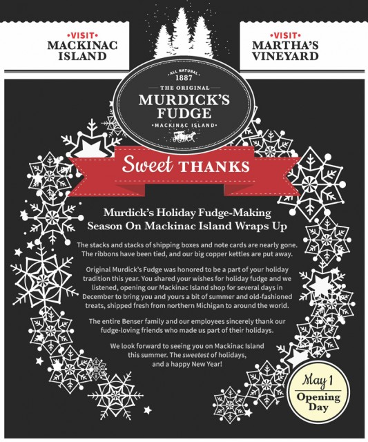 Great Memories: Murdick's Fudge-Making Holiday Season Wraps Up On Mackinac Island
