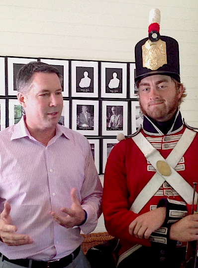 Bobby Benser of Original Murdick's Fudge discusses the Battle of 1814 on Mackinac Island with reenactor Evan Chalmers, who is decked out in his full British uniform. Click the link to hear Bobby talk about the battle.