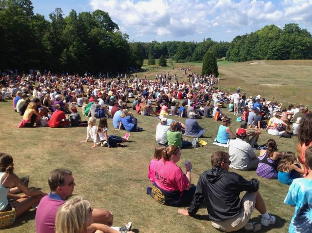 Hundreds of Mackinac Island visitors, workers and residents attended the Battle of 1814 reenactment on the Wawashkamo Golf Course hosted and narrated by Mackinac Historic State Parks.