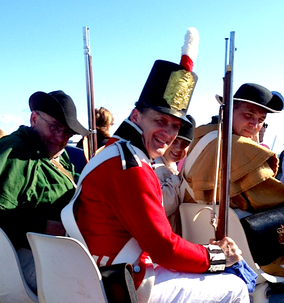 The Battle of 1814 reenactors head home aboard Shepler's ferry after a long day on Mackinac Island.