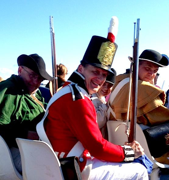 The Battle of 1814 reenactors head home aboard Shepler's ferry after a long day on Mackinac Island.