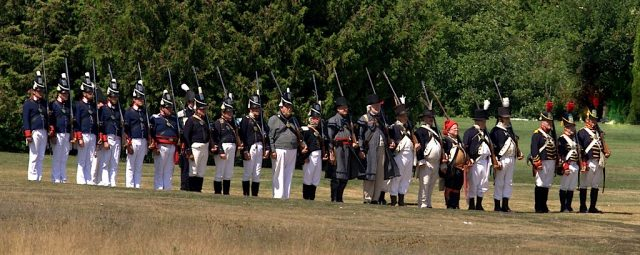In 1814, more than 150 American soldiers battled the British. In 2014, the reenactors lined up on the Wawashkamo Golf Course the same way they did 200 years ago.