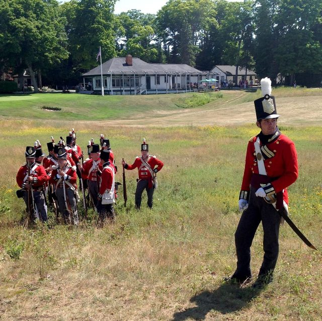 The battle was reenacted on the original site located on the Wawashkamo Golf Course. That's the historic Wawashkamo clubhouse in the background.