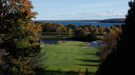 The tee on The Grand's 7th hole offers one of the best golf course views in America.